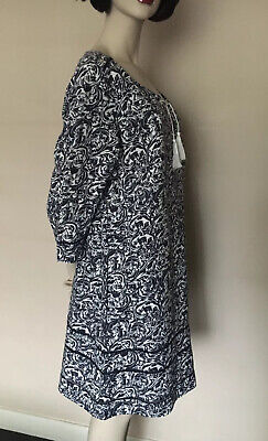 Brora,Exclusive Vintage Print,100%Linen,100% Cotton Lining,Navy/White Dress,UK18 • 46£