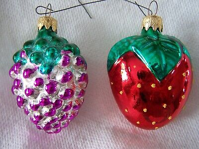 $ CDN14.99 • Buy VINTAGE GRAPE CLUSTER AND STRAWBERRY CHRISTMAS GLASS ORNAMENTS West Germany