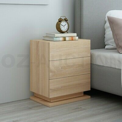 AU119.95 • Buy Modern Bedside Tables 3 Drawers Nightstand Side Cabinet Bedroom Furniture Oak