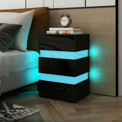 AU189.95 • Buy RGB LED Bedside Table Gloss 3 Drawers Nightstand Cabinet Bedroom Furniture Black