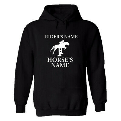 Horse Riding Personalised Hoodie Stable Race Pony Mens Custom Name Text Winter • 14.99£