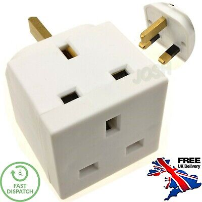 2 Way Block Plug Mains Adaptor Double Plug 3 Pin 13A UK FREE DELIVERY • 3.49£
