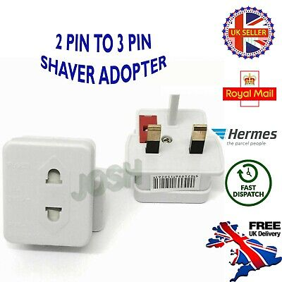 2 Pin To 3 Pin Travel Main Adaptor Plug For Shaver/Toothbrush White UK DELIVERY • 3.49£