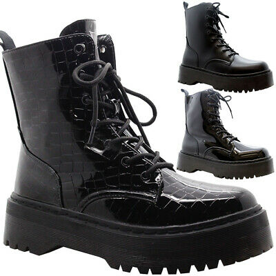£19.95 • Buy Ladies Lace Up Ankle Chunky Platform Boots Womens Goth Punk Zip Shiny Shoes Size