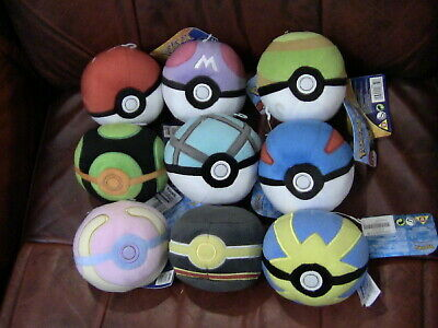 3X Pokemon Poke Ball 5  Plush Bundle Official Tomy Heal, Nest, Master, Great Etc • 25£