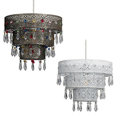 £9.99 • Buy Moroccan Style Easy Fit Ceiling Pendant Light Shade Jewel Droplet Lampshade