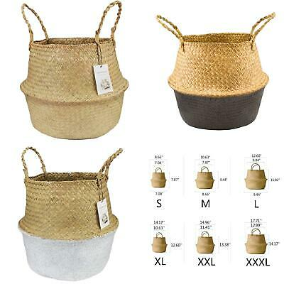 Seagrass Belly Basket Storage Plant Pot Foldable Nursery Laundry Bags Home Units • 5.33£