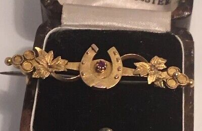 15ct Gold Victorian Lucky Horse Shoe Brooch • 85£