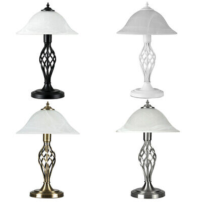 Traditional Table Lamps Barley Twist Bedside Lights With Glass Shade + LED Bulb • 39.99£