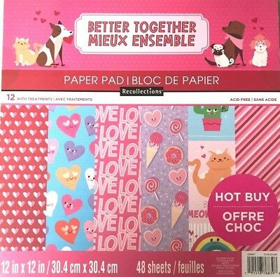 $16.99 • Buy ~better Together~12x12 Scrapbooking Cardstock Paper Pad 48 Lot~recollections~