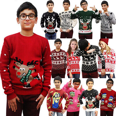 Unisex Kid Novelty Retro Santa Reindeer Boys Xmas Jumper Girls Christmas Jumpers • 9.95£