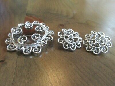 Beautiful Sign Sarah Coventry Silver Tone Pin  & Clip On Earrings Set Sc5 • 3.99$