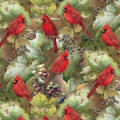 Red Cardinals In The Orchard Scenic Digitally Printed Cotton Fabric Fat Quarter • 6.99$