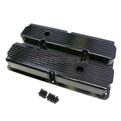 $189.98 • Buy Ford FE Black Fabricate Finned Aluminum 352-360-390-406-410-427-428 Valve Cover