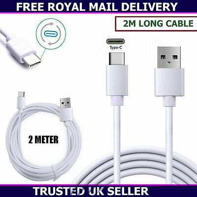 £3.65 • Buy New 2 Metre Long USB Type-C Charger Cable Data Sync Cord For All Mobile Phones