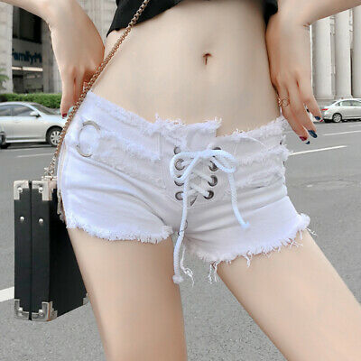 Women Micro Mini Denim Shorts Hot Pants Low Waist Zip Slit Dance Club Wear  • 16.99£