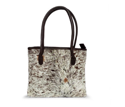 Cowhide Leather Bag With Cow Print Skin Fur In Salt And Pepper • 79£