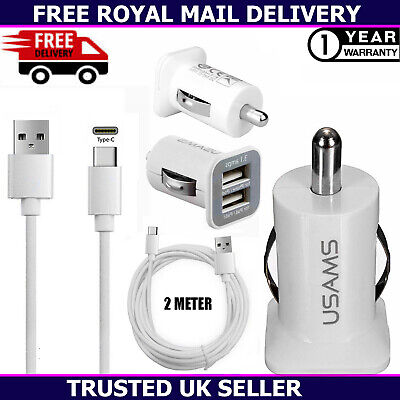 £3.65 • Buy Dual USB 3.1 Amp Charger Plug & 2M Type-C Charging Cable For All Mobile Phones