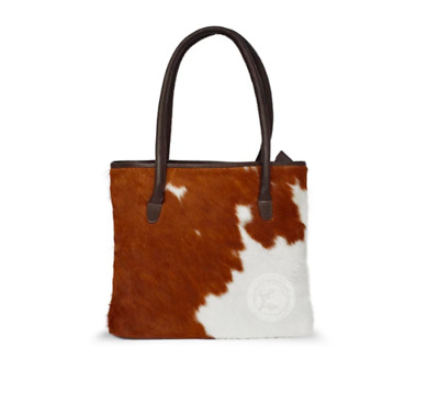 Cowhide Leather Bag With Cow Print Skin Fur In Brown And White • 79£