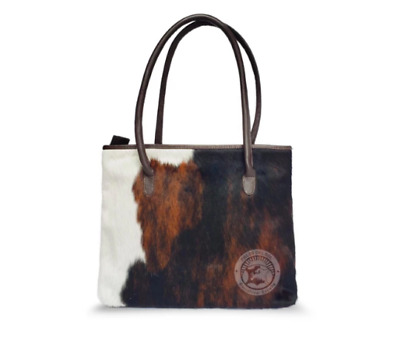 Cowhide Leather Bag With Cow Print Skin Fur In Tricolour • 79£