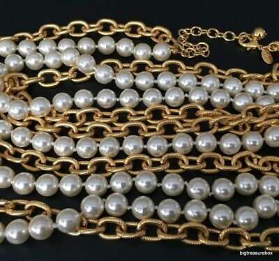 MINT FASHION Necklace SIGNED JOAN RIVERS Long Faux Pearl Gold Tone Chain Lot I • 4.25$