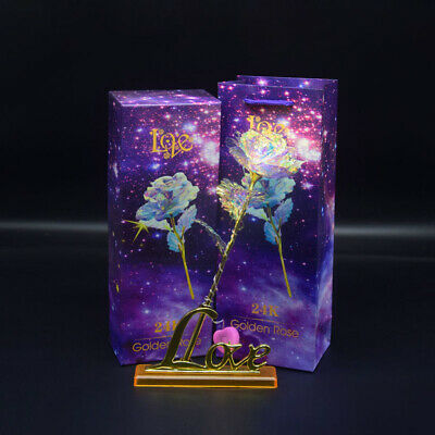 AU16.99 • Buy 24K Gold Galaxy Rose W/ Love Base Luminous Flower Valentine's Mother's Day Gift