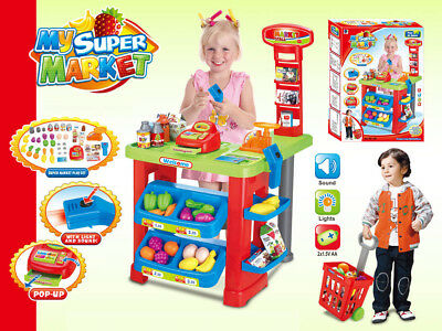 £23.95 • Buy Childrens Kids SUPERMARKET Shop Role Play Cash Till Play Food Toy Trolley 6180