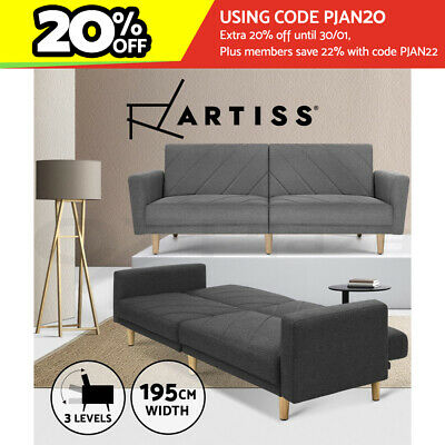 AU369.95 • Buy Artiss Sofa Bed Lounge Futon Couch 3 Seater Sleeper Day Beds Fabric 193cm