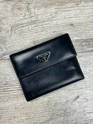 Auth Vintage Men's PRADA Milano Black Leather Wallet Purse • 110.57£