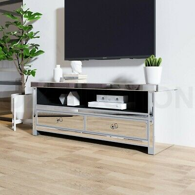 AU309.95 • Buy Mirrored TV Stand Cabinet 2 Drawers TV Console Entertainment Unit Home Furniture