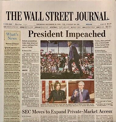 $9.99 • Buy The WALL STREET JOURNAL (NEWSPAPER) - December 19, 2019 -  TRUMP IMPEACHED