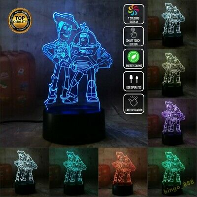 £16.06 • Buy Disney Toy Story 3D Acrylic LED 7 Colour Night Light Touch Table Desk Lamp Gift