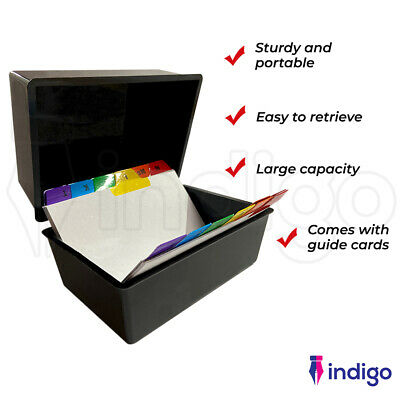£9.99 • Buy Office Index Record Card Box Filing Box With Coloured Guide Record Cards - BLACK