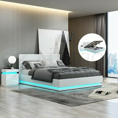 AU339.95 • Buy New Bed Frame Queen PU Leather Gas Lift Storage Furniture With LED Light White