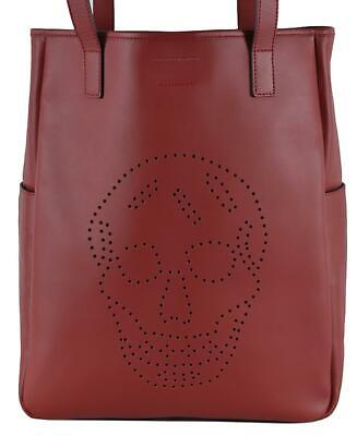 AU821.92 • Buy New Alexander Mcqueen 324906 Red Leather Perforated SKULL Large Tote Purse Bag
