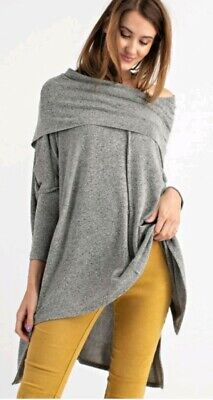 $ CDN50.37 • Buy Easel Anthropologie Cozy Cowl Neck Off The Shoulder Sweater Gray L Large