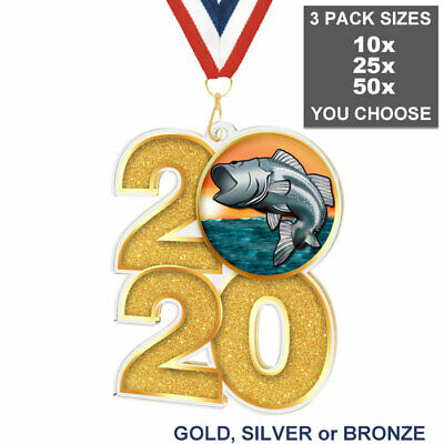 £27.95 • Buy FISHING 2020 ACRYLIC 70mm MEDAL & RIBBON PACK OF 10 (25 Or 50), FISH TROPHY