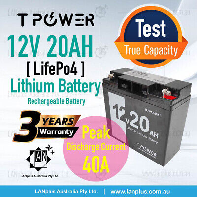 AU199 • Buy 12V 20AH LiFePO4 Lithium Battery Rechargeable Light Weight 3Kg 3-Year Warranty