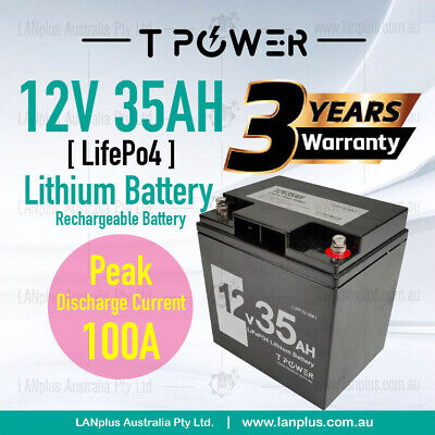 AU389 • Buy 12V 35AH LiFePO4 Lithium Battery Rechargeable Light Weight 4.2Kg 3-Year Warranty