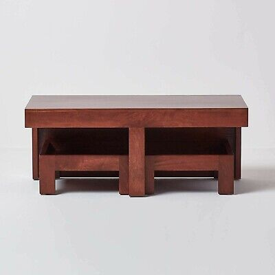 Coffee Table Wooden Dark Mango Wood Excellent Condition • 149£