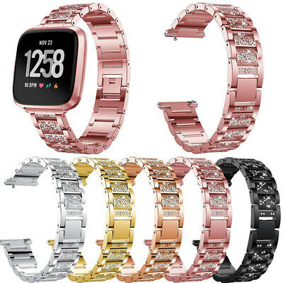 $ CDN15.27 • Buy Stainless Steel Bracelet Replacement Rhinestone Wristwatch Band For Fitbit Versa