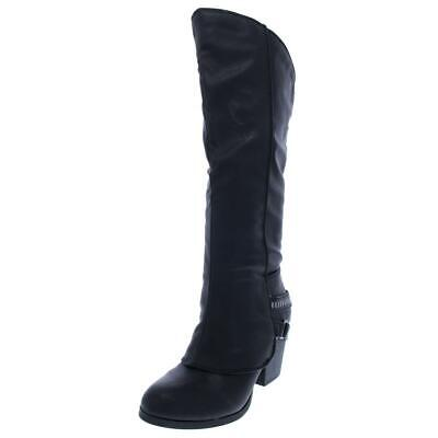 $12.99 • Buy American Rag Womens Edyth Faux Leather Stacked Heel Riding Boots Shoes BHFO 6149