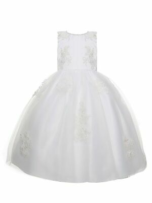 $45.99 • Buy Amberry Little Girls Off-White Embroidered Pearl Belt Flower Girl Dress 2T-6
