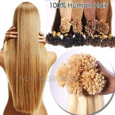 $24.31 • Buy U Nail Tip Pre Bonded Keratin Real Remy Human Hair Extensions Thick US Stock L34