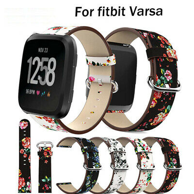 $ CDN11.38 • Buy Leather Floral Pattern Replacement Strap Watch Band Bracelet For Fitbit Versa