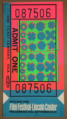 $2200 • Buy ANDY WARHOL 1967 TICKET New York Film Festival Lincoln Center Silkscreen Poster