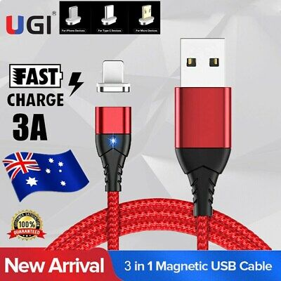 AU9.89 • Buy AU 3A Quik Magnetic Type C Micro USB Phone Charger Data Sync Charging Cord Cable