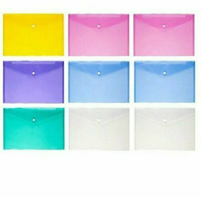 £1.69 • Buy  A5 Document Wallets -Folder Plastic Small Button Stud Sleeves (200 Micron){uk}
