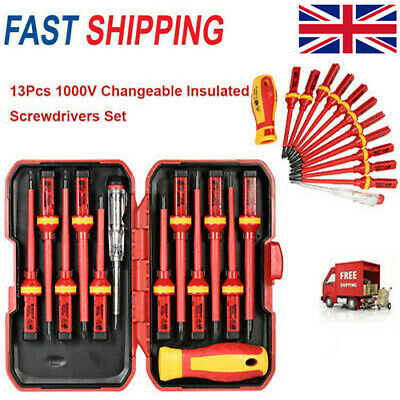 13pcs Electricians Hand Screwdriver Set Tool 1000V Electrical Insulated Kit I2Y7 • 15.88£
