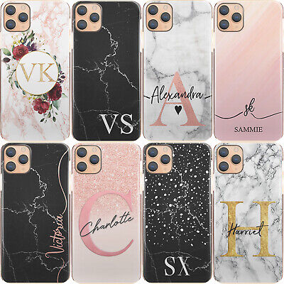Personalised Initial Phone Case, Pink/Black Marble Hard Cover For Samsung A • 6.99£